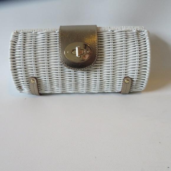kate spade Handbags - KATE SPADE WHITE WOVEN WICKER CLUTCH HANDBAG *